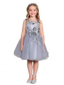 Little Girls Silver Lace Rhinestone Sash Pageant Dress 2-6