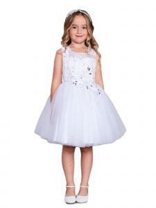 Little Girls White Lace Rhinestone Sash Pageant Dress 4