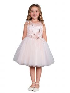 Little Girls Blush Lace Rhinestone Sash Pageant Dress 4