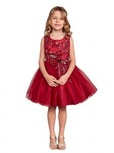 Big Girls Burgundy Lace Rhinestone Sash Pageant Dress 16