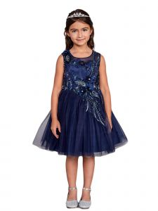 Big Girls Navy Blue Lace Rhinestone Sash Pageant Dress 12