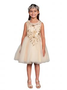 Little Girls Gold Lace Rhinestone Sash Pageant Dress 2-6