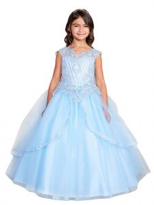 Big Girls Sky Blue Metallic Lace Applique Split Tulle Skirt Pageant Dress 14