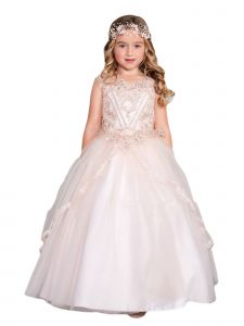Big Girls Rose Gold Metallic Lace Applique Split Tulle Skirt Pageant Dress 12