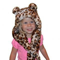 Big Girls Brown Leopard Faux Hat 6-12