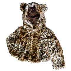 Big Girls Brown Leopard Critter Ears Button Faux Hooded Jacket 6-12
