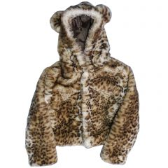 Big Girls Snow Leopard Critter Ears Button Closure Faux Hood Jacket 6-12