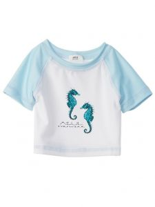 Azul Little Boys White Green Sea Stallion UV Protection Rash Guard 2T-7