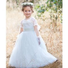 Girls Ivory Lace Illusion Neckline Jessy Delicate Flower Girl Dress 6-8