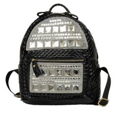 Hearty Trendy black Gleaming Shiny Accent Zipper School Trendy Backpack