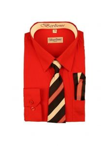 Berlioni Big Boys Red Striped Necktie Hanky 3 Pc Dress Shirt Set 8-20