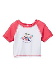 Azul Little Girls Multi Color Sour Toucan Girls Short Sleeve Rash Guard 2T-7