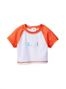 Azul Little Girls Orange Dancing Feather Short Sleeved Rash Guard 4-7