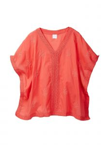 Azul Little Girls Coral Lace Detail Renaissance Cotton Kaftan Top 2T-7