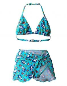Starfish Big Girls Blue Shark Fish Top Brief Pareo 3 Pc Bikini Swimsuit 7-16