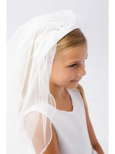 Girls Ivory Embellished Communion Flower Girl Stylish Headband Veil