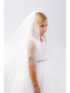 Girls Ivory Crystal Floral Motif Detailed Communion Flower Girl Veil