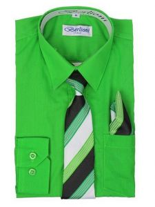 Berlioni Big Boys Apple Green Striped Necktie Hanky 3 Pc Dress Shirt Set 8-20