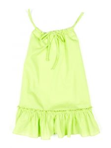Azul Little Girls Green Drawstring Spaghetti Sleeveless Ruffle Dress 2T-6