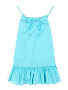 Azul Little Girls Turquoise Drawstring Spaghetti Sleeveless Ruffle Dress 2T-4