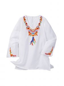 Azul Little Girls White Multi Color Floral Pocahontas Long Sleeve Tunic 2T-7