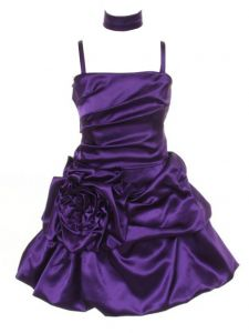 Huncho Big Girls Purple Satin Bubbled Pickup Junior Bridesmaid Dress 8-14