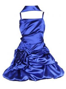 Huncho Little Girls Royal Blue Bridal Satin Bubbled Pickup Flower Girl Dress 2-6