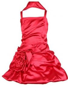Huncho Big Girls Red Satin Bubbled Pickup Junior Bridesmaid Dress 8-14