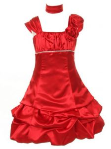 Huncho Big Girls Red Shiny Satin Taffeta Pick-Up Junior Bridesmaid Dress 8-14