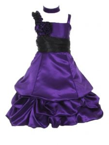 Huncho Big Girls Purple Black Two Tone Bubble Junior Bridesmaid Dress 8-14