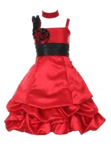 Huncho Big Girls Red Black Two Tone Satin Bubble Junior Bridesmaid Dress 8-14