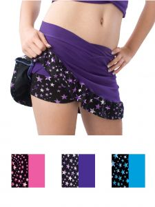 Pizzazz Girls Multi Color Superstar Ruffled Skirt Briefs Youth 2-16