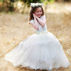 Girls Ivory Lace Applique Bow Tulle Whitney Flower Girl Ball Dress 2-14