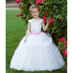 Girls White Pink Lace Applique Bow Whitney Flower Girl Ball Dress 2T-7