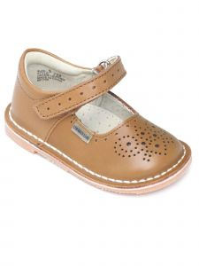 Lamour Girls Brown Perforated Hook And Loop Mary Jane Shoes 11-2 Kids