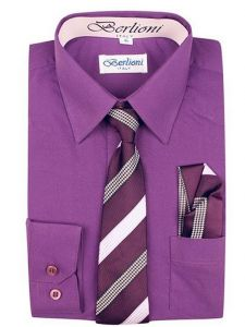 Berlioni Little Boys Purple Striped Necktie Hanky 3 Pc Dress Shirt Set 2-6