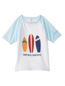 Azul Big Boys Light Blue White Surfboard UV Protection Rash Guard 8-14