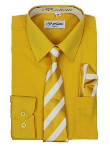 Berlioni Little Boys Gold Striped Necktie Hanky 3 Pc Dress Shirt Set 2-6