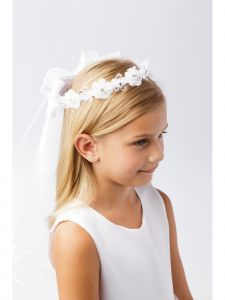 Girls White Glitter Center Floral Crown Stylish Communion Flower Girl Veil