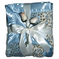 "Raindrops Baby Boys Faux Fur Receiving Blanket, Blue, 28"" X 36"""