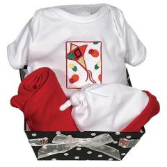 Raindrops Unisex Baby Delightful Brights 4-Piece Kite Body Suit, Gift Set, Red 0-6M