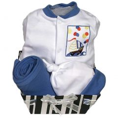 Raindrops Baby Boys Delightful Brights 4-Piece Sailboat Footie Gift Set, Royal 0-6M