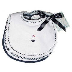 Raindrops Baby Boys Primary Teething Bib Set, White/Navy