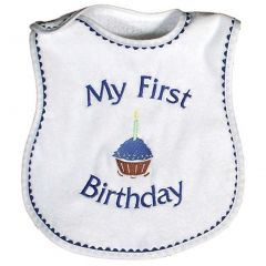 Raindrops Baby Boys My First Birthday Embroidered Bib Royal