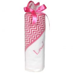 Raindrops Baby Girls Loved 2 Pc Hooded Towel Set Cotton Candy Chevron One Size