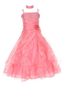 Huncho Little Girls Coral Organza Layered Brooch Accent Flower Girl Dress 4-6
