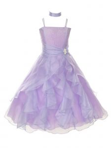 Huncho Big Girls Lilac Organza Layered Brooch Junior Bridesmaid Dress 8-18