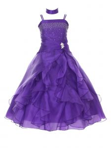 Huncho Big Girls Purple Organza Layered Brooch Junior Bridesmaid Dress 8-18