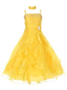 Huncho Little Girls Yellow Organza Layered Brooch Accent Flower Girl Dress 4-6