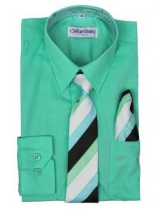 Berlioni Big Boys Aqua Green Striped Necktie Hanky 3 Pc Dress Shirt Set 8-20